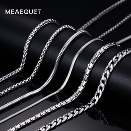 Wholesale Flat Curb Chain Wholesale - whole saleMeaeguet Trendy 20inch Silver Color Stainless Steel Link Chain Necklace For Men Snake Box Hanging Curb Flat Twist Chain