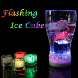 Wholesale Lighted Christmas Topper - LED Ice Cube Multi Color Changing Flash Night Lights Liquid Sensor Water Submersible For Christmas Wedding Club Party Decoration Light lamp