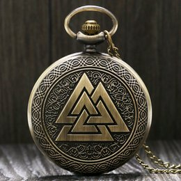 Wholesale Necklace Fobs - Vintage Triangle Valknut Norse Vikings Retro Bronze Quartz Pocket Watch Necklace Chain Three Interlocking Fob Watch Clock Friendship Gifts