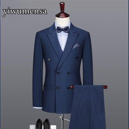 Wholesale Navy Costumes For Men - Y522 Real Photo costume homme mariage 2018 Custom made Double Breasted Navy Blue Wedding Suits for men slim fit Bestman Blazer