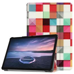 soporte de aguja Rebajas Tri-Fold Stand Flip Smart Cover PU Funda de cuero para Samsung Galaxy Tab S4 10.5 T830 T835 T837 Tablet + Stylus