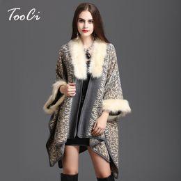 Wholesale Faux Collar Sweater - Winter Women Sweater Cardigan Female High Quality Faux Fox Fur Collar Poncho Cape Wool Shawl Cape 3 Colour