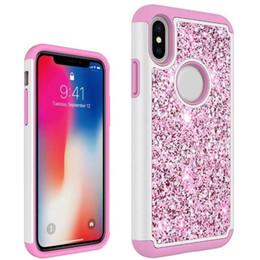 Shinny Bling Glitter Darbeye Cep Telefonu Kılıfı Için Samsung S9 Artı iPhone X LG V3 2018 Stylo 2 3 X Güç A7 A560 Opp nereden bling iphone cep telefonu kapakları tedarikçiler
