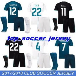 Wholesale Bale Real Madrid - 2018 2017 Real Madrid Home AWAY Soccer Jersey Kit socks 17 18 third blue soccer shirt Ronaldo Bale Football uniforms Asensio SERGIO RAMOS
