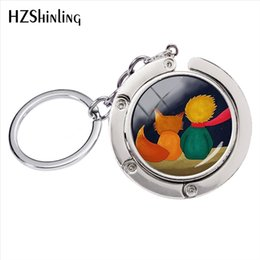 Pequeñas cadenas para hombres online-Little Prince Sign Crystal Glass Dome Bag Holder Key Rings Hombres Ladies Fashion Jewelry Aleación de plata Round Key Chains