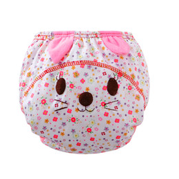 diaper cover panties wholesale UK - Hot selling Infant kids cartoon cotton Nappies for 6-24M Baby Ruffle cute Panties Briefs cloth Diaper Cover Pants #JD loviny