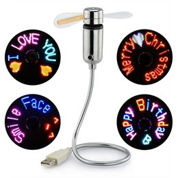 Wholesale Fans Messages - Authentic USB Programmable Fan Flexible Gooseneck Message Programmable RGB LED Display Memory Function For PC Notebook Desktops Perfect Gift