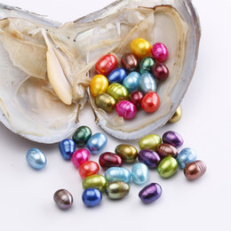 Wholesale rice pearls - New Product Single Big Rice Pearls 8-10mm Natural Pearl in Oysters Freshwater Oyster Shell DIY Jewelry For Women party
