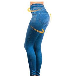2019 Leggings Jeans für Frauen Jeanshosen mit Tasche Slim Jeggings Fitness Plus Size Leggins S-XXL Schwarz / Grau / Blau von Fabrikanten