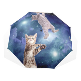 Wholesale Foldable Umbrellas - Creative Rain Umbrella Cute Sky Cat Women Lady Automatic Umbrella 3 Folding 8 Ribs Durable Foldable Children Umbrellas