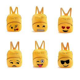 Wholesale Canvas Backpack Wholesale Children - Cute Children School Bag Emoji Emoticon Mochila Feminina Satchel Rucksack Bags Kids Cartoon Plush Emoji Backpack OOA4495