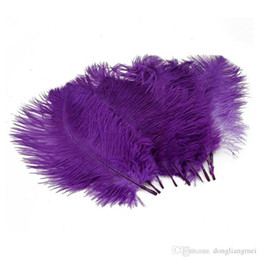 Wholesale 12 Inch Ostrich Feathers - Colorful 12-14 inch(30-35 cm) white Ostrich Feather plumes for wedding centerpiece wedding party event decor festive decoration Z134