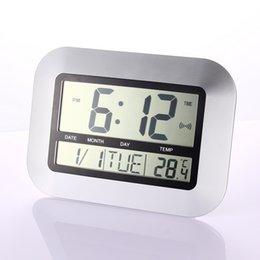 Wholesale Large Digital Table Clock - Cheap table digital Alarm Clocks Temperature Display Silver Desk Bedroom Kitchen Table Digital Large Wall Clock Support 4 Languages