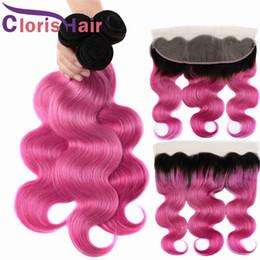 2019 faisceaux de cheveux vierges colorés Coloré Rose vague malaisienne Virgin Body Virgin tisse la fermeture oreille à l'oreille 13x4 Full Lace Frontals avec 3 Bundles Ombre Extensions de cheveux humains faisceaux de cheveux vierges colorés pas cher