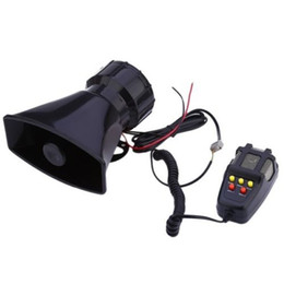 Wholesale Horn Speakers - LARATH Hot sale 1 set 5 Sound Loud Car Truck Speaker Warning Alarm Police Fire Siren Horn 12V 100W 105db With MIC Microphone