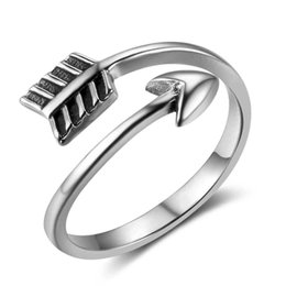 wedding arrow Promo Codes - Exquisite Cupids Arrow Rings Unique Open Finger Ring 925 Sterling Silver Jewelry Adjustable Size Girl Jewellry