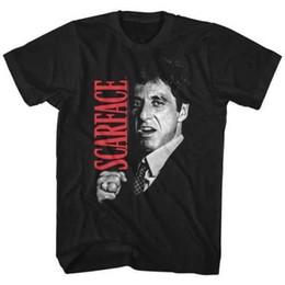 Marca licenciada on-line-Scarface Tony Montna Close Up Licenciado Adulto T Camisa Filme Clássico Mens 2018 Marca de moda T Shirt O Pescoço 100% algodão Tops de T-Shirt