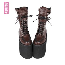 c69226acdcf ss sweet punk shoes Japanese super high heel pointed boots animated PUNK  thick frill muffin slope and medium boots pu8373