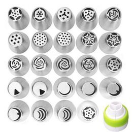 Wholesale decorating sets - 24Pcs DIY Russian Icing Piping Nozzles Tips Cake Decorating Pastry Baking Tool