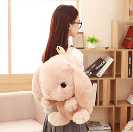 2019 mochilas de conejito de chicas Preciosa mochila escolar Kawaii Rabbit Plush mochila Japón Lolita Bunny juguetes blandos para niñas de cumpleaños bolsa de peluche mochilas de conejito de chicas baratos