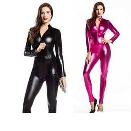 Wholesale Bondage Catsuit - Sexy Women Faux Leather Metallic PVC Fetish Gothic Catsuit & Bodysuit Wetlook Latex Jumpsuit Bondage Harness Costumes