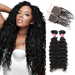 Wholesale Buy Closure - Mink Hair Virgin Brazilian Deep Wave 3 Bundles With Closure Buy 8A Unprocessed Peruvian Malaysian Indian Human Hair Weaves Weft Wholesale