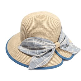 Wholesale big straw hats for women - 2017 New Summer Straw Hat For Women Elegant Big Bow Sun Hats Ladies Travel Beach Caps Chapeau Femme Ete