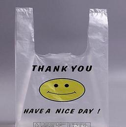 Wholesale Transparent Bag Material - Promotion 100pcs 26 * 42cm Transparent Smiling Face Plastic Bags Customized Fresh Material Waterproof Multi-purpose Vest Shopping Bags