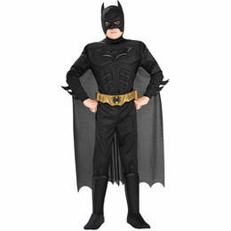 Chegada nova Crianças Deluxe Músculo Cavaleiro das Trevas Batman Criança Halloween Party Fancy Dress Meninos Superhero Carnaval Traje Cosplay Y1891202 cheap fancy batman de Fornecedores de batman fantasia