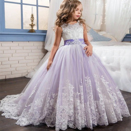 Wholesale Little Girls Puffy Dresses - Princess Lilac Little Bride Long Pageant Dress for Girls Glitz Puffy Tulle Prom Dress Children Graduation Gown Vestido4121