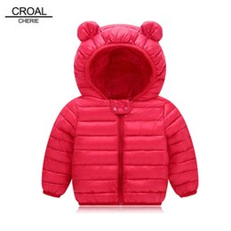 bear ears jacket Coupons - CROAL CHERIE Bear Ear Childrens Winter Jacket For Boys Fashion Hooded Thick Cotton-Padded Boy Coat Solid Parka Kid Clothes