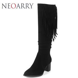 5ef2826f18a Neoarry 2018 Plus Size 33-48 Tassel Women Flock Knee High Fringe Boots  Ladies Shoes Winter Block High Heels Riding Boots Women