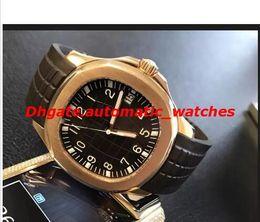 Paquete de oro online-Paquete de calidad superior Automático Reloj Hombres Dial Negro Oro Rosa Esqueleto Banda de Goma Transparente Volver 5167 / 1A -001 Reloj Monor Hemmo