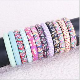 Wholesale Set Soft Bracelets - 1.2CM wide Colorful flower pattern soft clay Bangle colorful beads hand string bracelet mix color