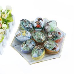 Caja de dulces de huevo de pascua online-Huevos de Pascua en forma de caja del caramelo de Pascua del polluelo de impresión de la aleación del metal de la lata de hojalata baratija de la caja de la decoración del partido
