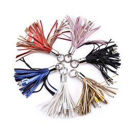 Wholesale Keychain Micro Usb Cable - New Leather Tassel Style Keychain Micro 5pin type c Usb data sync charging cable for samsung s6 s7 edge s8 note 8 htc android phone 7 8 x