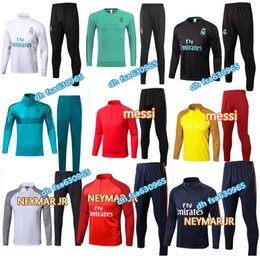 Wholesale Black Track Suits - new 2017 Real Madrid Tracksuit Soccer Ronaldo MESSI NEYMAR JR Football Pants Sports Training 17 18 Suit Men Adults OM Track Suit