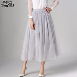 Wholesale Womens Purple Tulle Skirt - Wholesale- TingYiLi Long Tulle Skirt 2016 Spring Summer Long Skirts Womens Beige Gray Wine Red Black Maxi Skirt 8M Big Swing