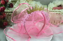 Fascia di promenade dentellare online-Kid Pink Flower Girl Velo copricapo Wedding Proms Partito Crown fascia Tiara