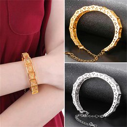 Wholesale Vintage Vogue - U7 Bracelets Gold Platinum Plated Vintage Hollow Bangles Gift For Women High Quality Vogue Charms Jewelry Cuff Bracelet H2663