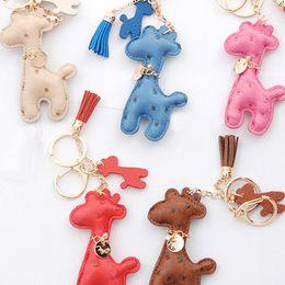 Wholesale Giraffe Bags - New Hot Key Chain Accessories Tassel Key Ring PU Leather Giraffe Car Keychain Jewelry Bag Charm