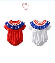 2019 denimkleid weißer kragen Neue Baby Mädchen Bodysuit Sommer Kinder Kurzarm Overall Unabhängigkeitstag Feier Kleidung Nationalflagge Stil Druck