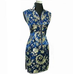 d7ca226d4a Navy Blue Chinese Traditional Women Summer Dress Silk Satin Cheongsam Sexy  V-Neck Qipao Floral Size S M L XL XXL XXXL WC013