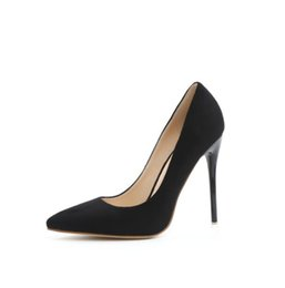 Wholesale Tan Stiletto Shoes - Elegant New Fashion High Quality Women Pumps Sexy Pointed Toe Thin High Heels Pumps Nice Black Grey Red Shoes Big