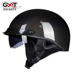 Wholesale motorcycle carbon fibre - 2018 New Retro GXT Carbon Fibre Helmets for women and men Motorcycle half helmet Electric safety helmet with Bongrace