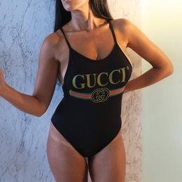 Sexy einteiliger blauer badeanzug online-Blau Rot One Piece Backless Bikini Bademode Sexy Print Bandage High Cut Lady Badeanzug Für Frauen Bodys Badeanzüge Strand