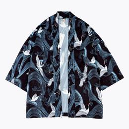 Argentina LFF 2018 Recién Llegado de Los Hombres de Moda de la Grúa de Graffiti Imprimir Tres Cuartos de Vestir Robo Kimono Camisa Amantes Masculinos Casual Delgado Puntada Abierta supplier kimono new fashion stitching Suministro