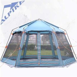 Wholesale Camping Gazebo Tent - Huge 6-8 person anit rain windproof hexagon gazebo hiking relief awning pergola party beach fishing awning outdoor camping tent