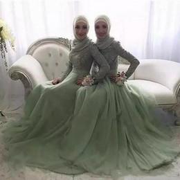 vestidos de noche de color de menta Rebajas 2018 Mint Muslim Appliques de  encaje Vestidos de 09ac1e91d210