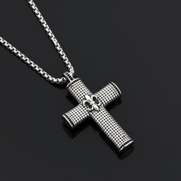 Wholesale Big Stone Necklaces - Men Cross Big Pendant Necklace Black Rhine Stone Design High Quality Fashion Jewelry 27.5inch Chain Stainless Steel Necklace Men